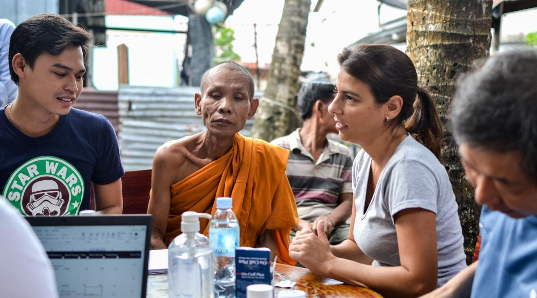 High School Special volunteers and staff run business training for beneficiaries in Cambodia.